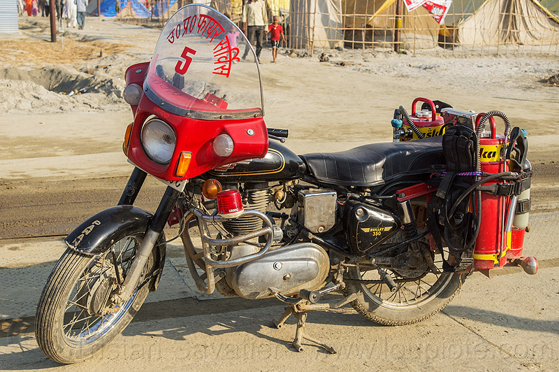 fire motorbike (india), 350cc, fire bullet, fire department, fire engine, fire extinguishers, fire motorbike, fire motorcycle, firefighters, five, kumbha mela, maha kumbh mela, red, royal enfield bullet
