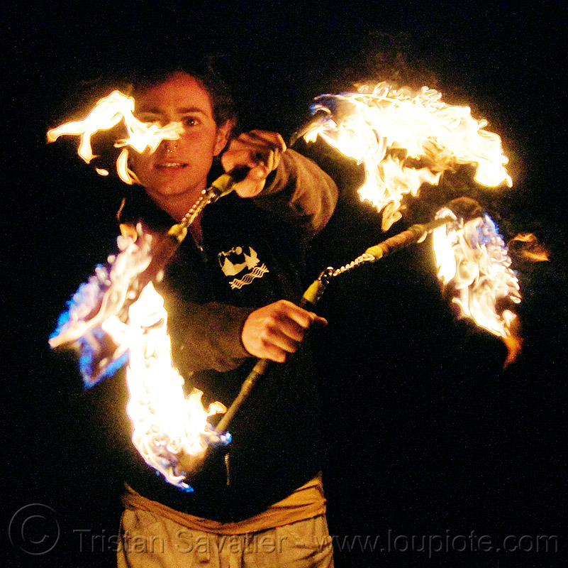 fire nunchaku, fire dancer, fire dancing, fire performer, fire spinning, flames, night, nose piercing, people, sarah, septum piercing, woman