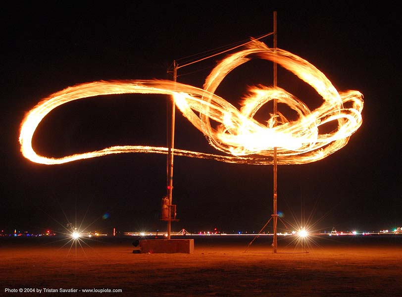 fire pendulum - burning-man 2004, art installation, burn, burning man, chaotick, fire pendulum, flames, larry breed, long exposure, night