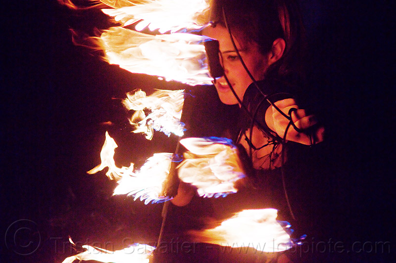fire fans, ally, fire dancer, fire spinner, flames, justin herman plaza, night, people, woman
