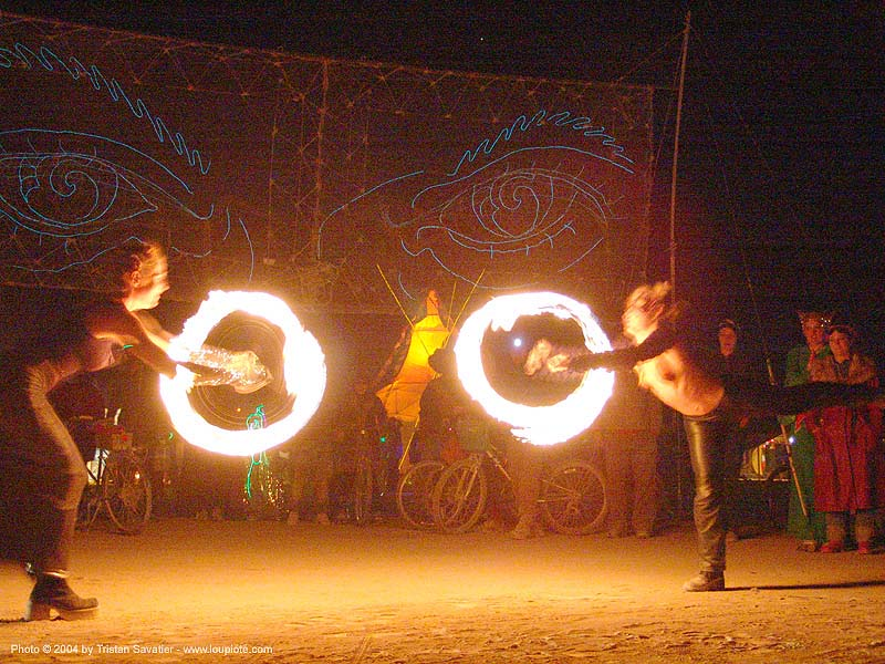 fire performers - burning-man 2004, art, burn, burning man, eyes of gawd, fire dancer, fire dancing, fire performer, fire poi, fire spinning, flames, long exposure, night, spinning fire