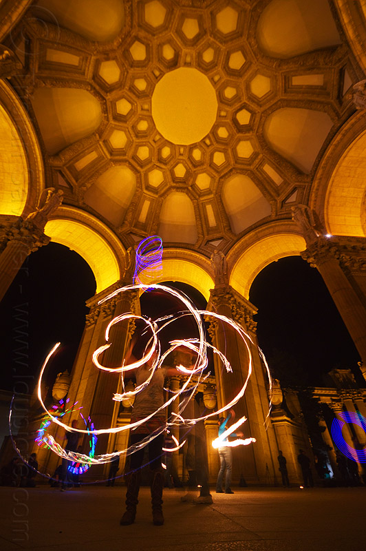 fire performers under the dome of the palace of fine arts, arches, columns, dome, fire dancer, fire dancing, fire hoop, fire performer, fire spinning, flames, hulahoop, led lights, long exposure, mel, night, vaults, woman