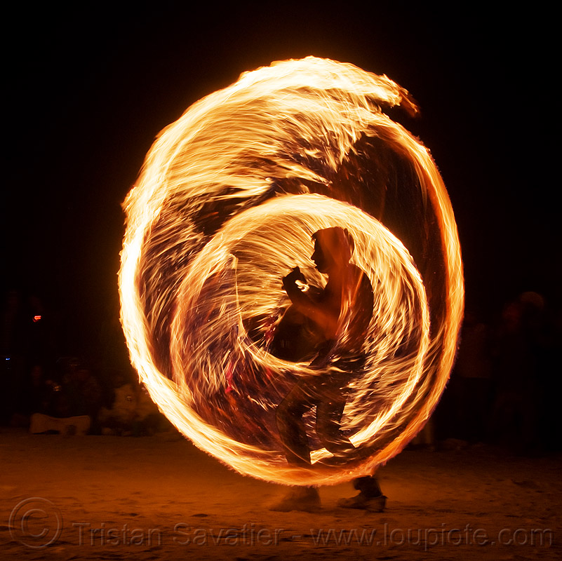 fire ropes - burning man 2009, burning man, fire dancing, fire performer, fire spinning, flames, long exposure, night, rire rope, silhouette, spinning fire