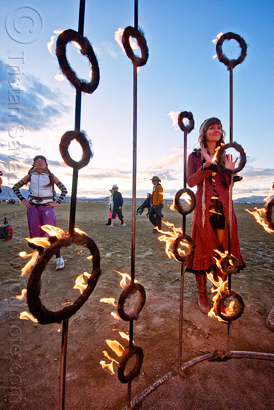 fire sculpture - nucleus by kasia danuta-bilhartz, dusk, flames, rings