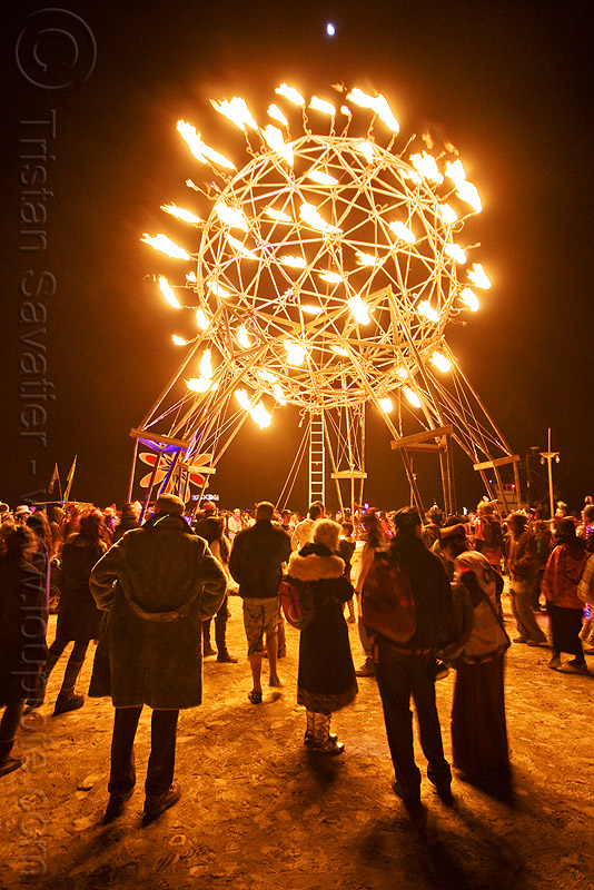 fire sphere - nexus camp - burning man 2010, crowd, fire, flames, nexus theme camp, night, pyrosphere, sculpture, sphere