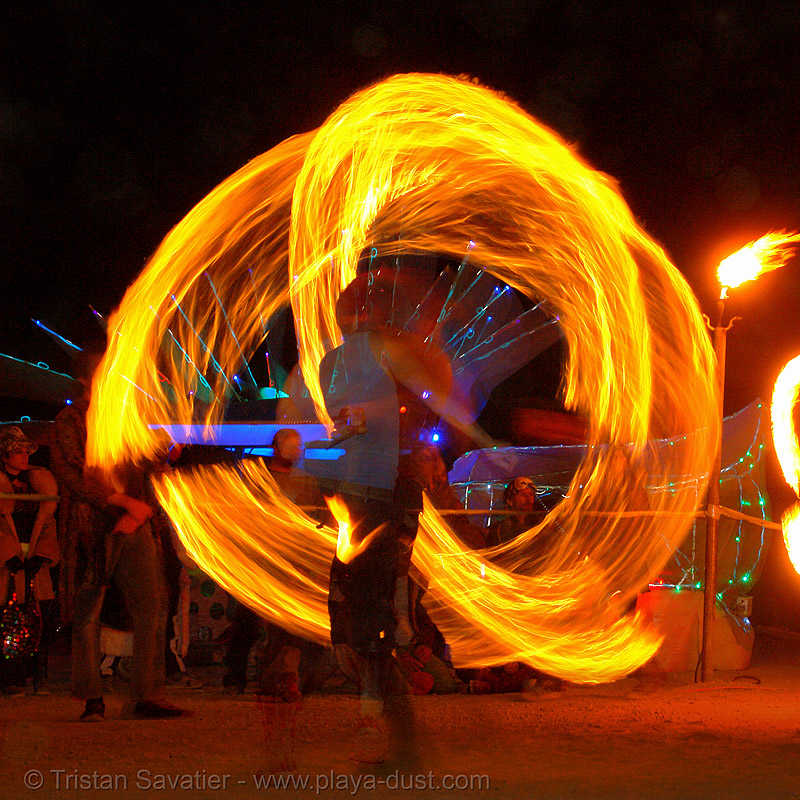 fire spinner - burning-man 2006, art, burn, burning man, fire dancer, fire dancing, fire performer, fire spinning, flames, long exposure, night, spinning fire