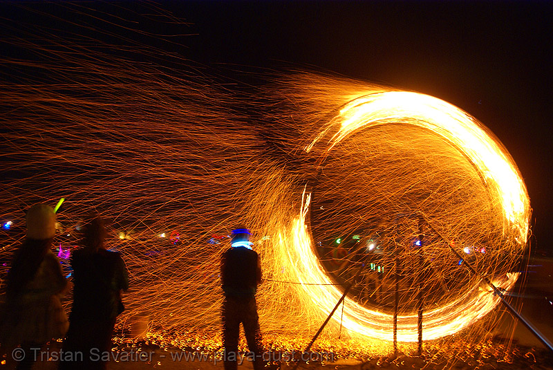 fire spinner - burning man 2007, anton, burning man, fire-spinner, flames, night, viditz-ward