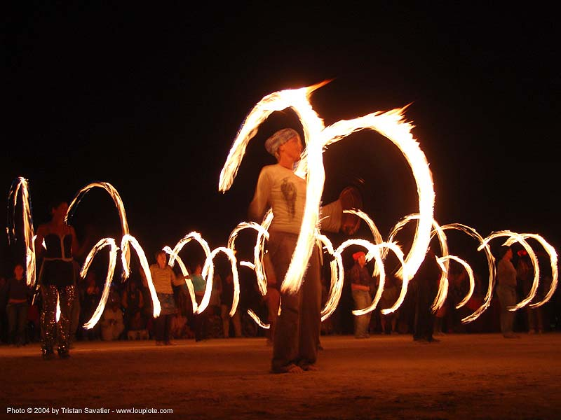 fire spinners - fire conclave training - burning-man 2004, art, burn, burning man, fire dancer, fire dancing, fire performer, fire poi, fire spinning, flames, long exposure, night, people, spinning fire