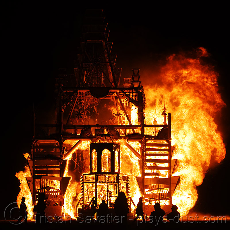 fire - temple burning - basura sagrada - burning man 2008, flames, night
