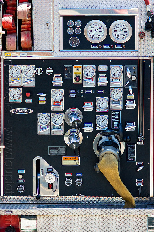 fire truck control panel, control panel, dials, fire department, fire engine, fire truck, pressure gauges, sffd, valves