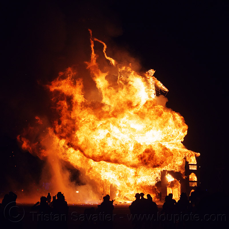 fire twisters - burning man 2012, backlight, firenado, flames, night, people, silhouettes, the man