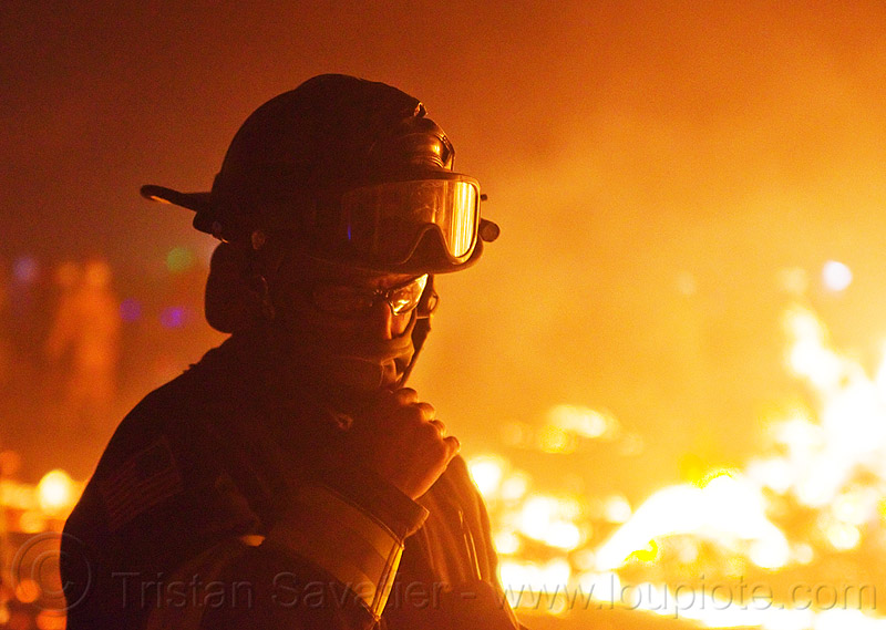 firefighter - burning man 2013, burning, fire, firefighter, flames, goggles, helmet, man, night
