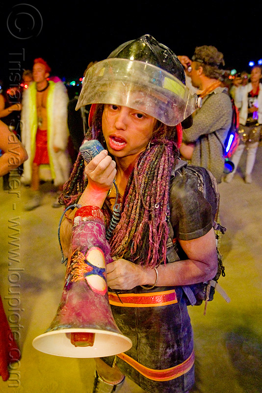firefighter woman with bullhorn - burning man 2009, burning man, firefighter, night, sara, woman