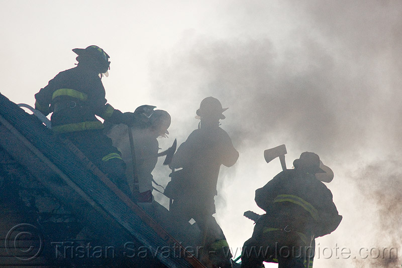 firefighters - SFFD (san francisco fire department), fire department, firefighters, firemen, roof, sffd, silhouettes, smoke