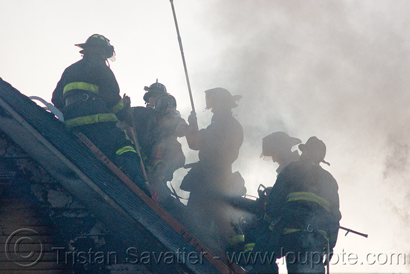 firefighters - SFFD (san francisco fire department), emergency services, extinguishing, fire department, firefighters, firemen, reflective vests, roof, safety helmets, safety vests, sffd, silhouettes, smoke, smoking, tools