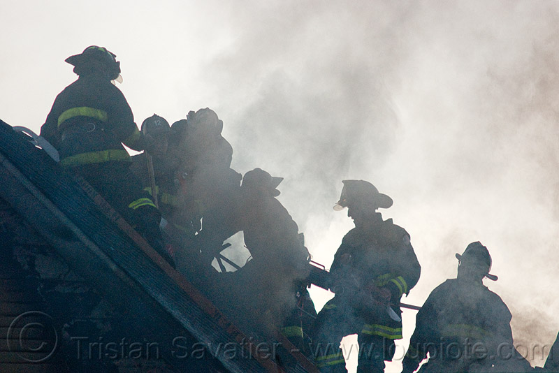 firefighters - SFFD (san francisco fire department), firemen, people, roof, silhouettes, smoke