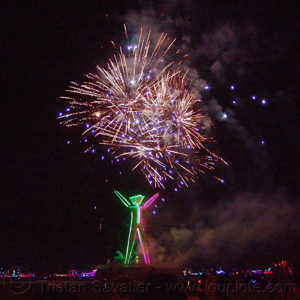 fireworks above the man - burning man 2015, burn, night, night of the burn, pyrotechnics