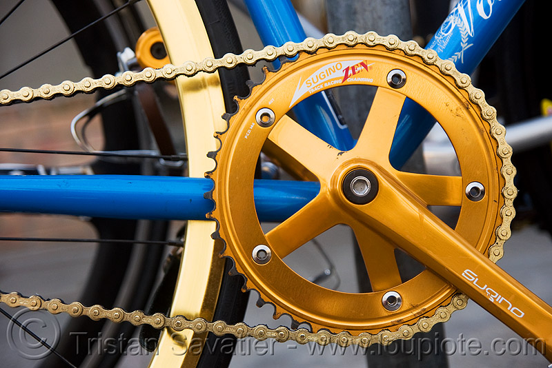 fixed gear bicycle chainwheel and chain - fixie, bicycle chain, bike, blue, fixed gear bike, fixie bike, golden, golden color, sugino, track bike, yellow