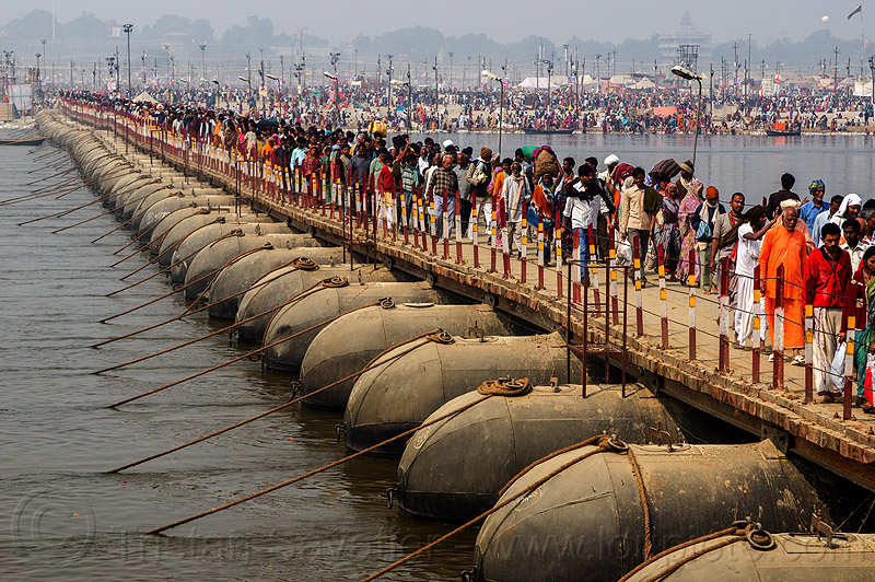 floating bridge (pontoon bridge) - kumbh mela (india), crowd, floating bridge, foot bridge, ganga river, ganges river, hindu, hinduism, infrastructure, kumbha mela, maha kumbh mela, metal tanks, pontoon bridge, walking, water