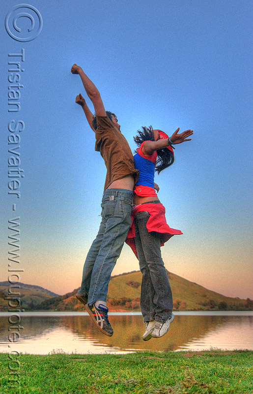 floating in the air - HDR, air, cristina, floating, flying, jump, jumper, jumpshot, man, reflection, water, woman