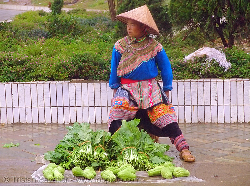 flower h'mong woman selling vegetable - vietnam, colorful, farmers market, flower h'mong tribe, flower hmong, hill tribes, indigenous, salads, street market, street seller, vegetables, vietnam