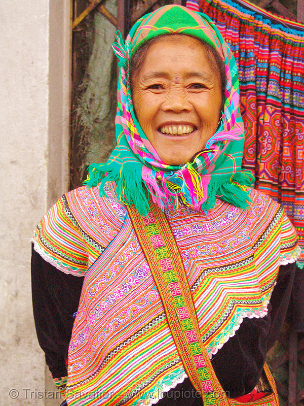 flower h'mong woman - vietnam, asian woman, flower h'mong tribe, flower hmong, h'mong tribe, hill tribes, indigenous, mature woman, old, old woman, people