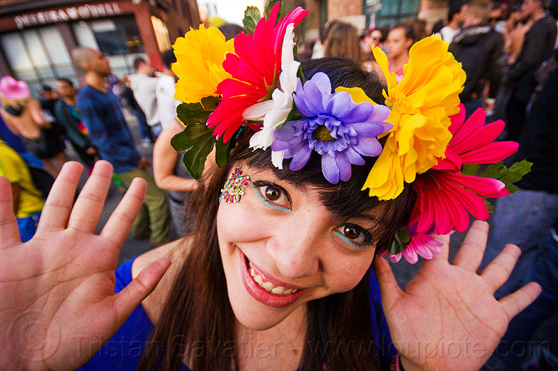 flower headdress - how weird street faire (san francisco), bindis, flower headdress, hands, woman