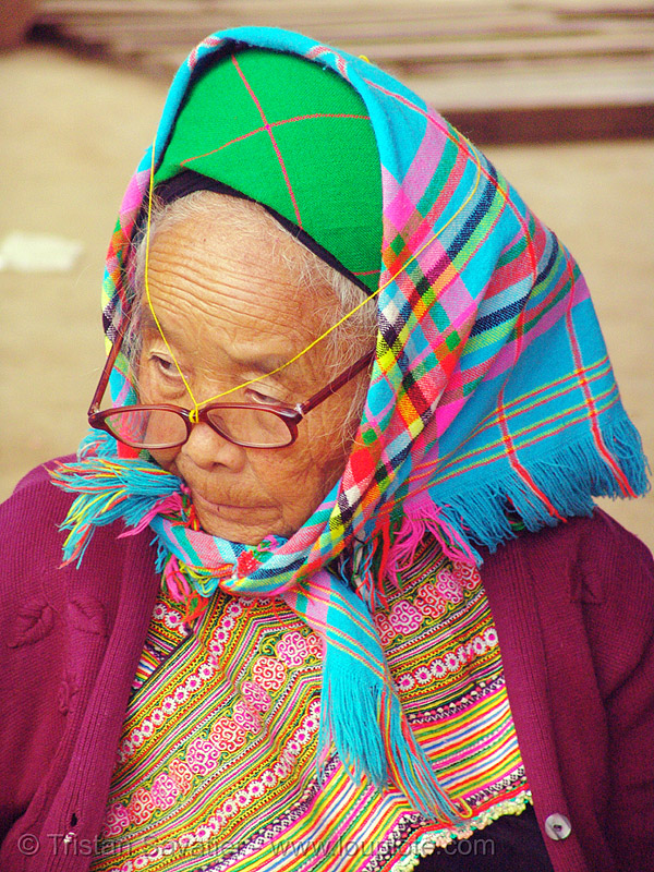 flower hmong woman - vietnam, asian woman, eyeglasses, eyewear, flower h'mong tribe, flower hmong, hill tribes, indigenous, mature woman, old woman, prescription glasses, reading glasses, spectacles