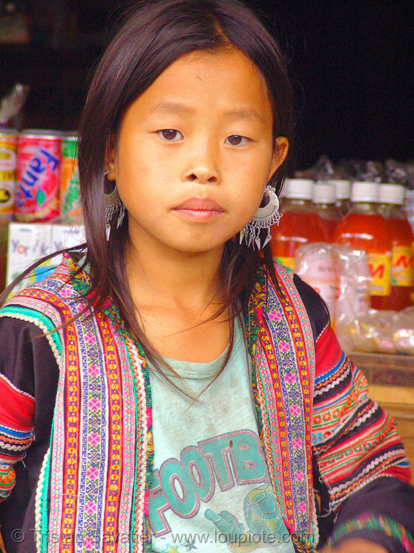 flower hmong - young girl - vietnam, child, colorful, flower h'mong tribe, flower hmong, hill tribes, indigenous, kid, little girl, vietnam