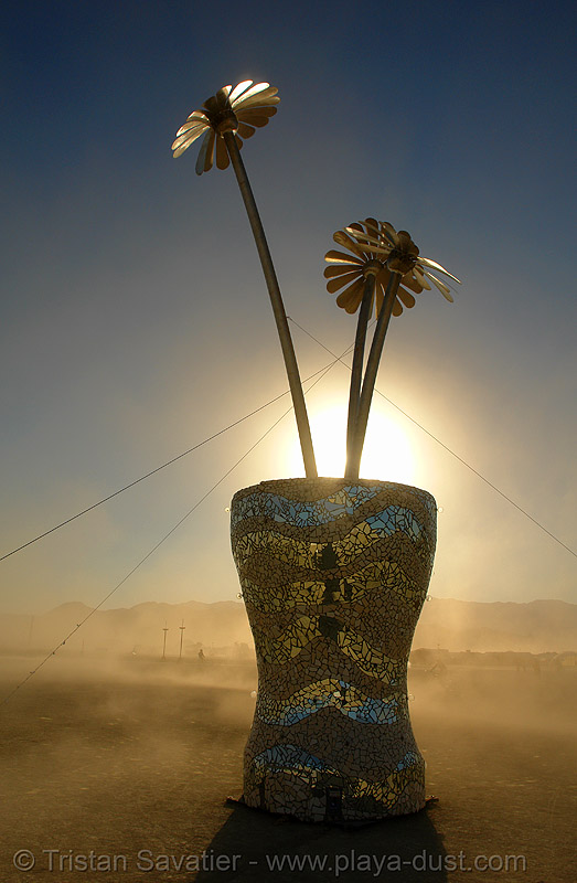 flower pot - burning-man 2006, art installation, burning man, flower pot, flowers, perhaps, rob buchholz