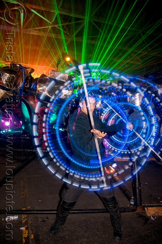 flowstaffs - elias spinning LED staffs - opulent temple massive rave party (treasure island, san francisco), double staff, elias, fire dancer, fire dancing, fire performer, fire spinning, flowlights, flowstaffs, flowtoys, glowing, green laser, laser lightshow, laser show, lasers, led lights, led staffs, light staffs, long exposure, night, nightclub, opulent temple, rave party, spinning fire, staves