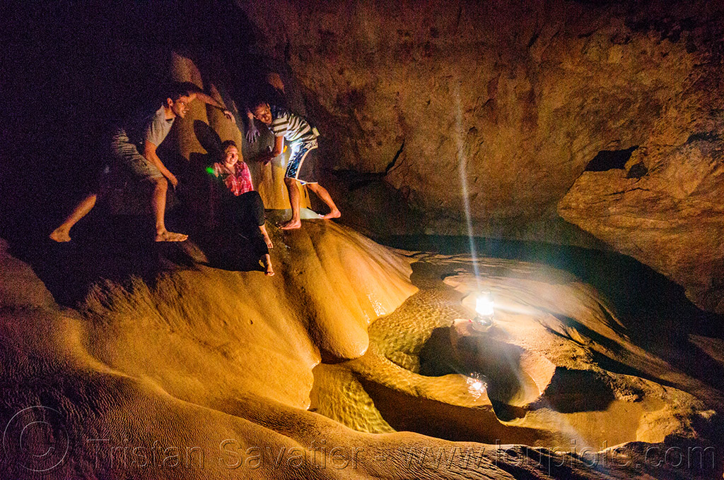 flowstone in sumaguing cave - sagada (philippines), cave formations, cavers, caving, concretions, flowstone, gours, natural cave, philippines, rimstone, sagada, speleothems, spelunkers, spelunking, sumaguing cave, water