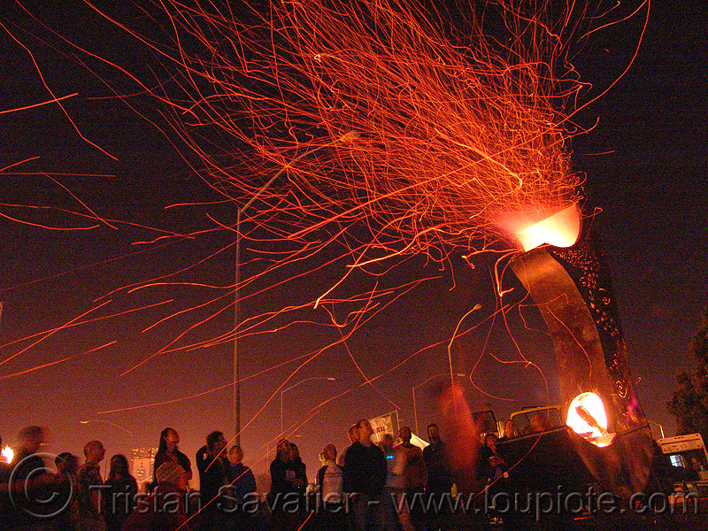 flying embers, embers, fire art, fire arts festival, fire cauldron, long exposure, the crucible