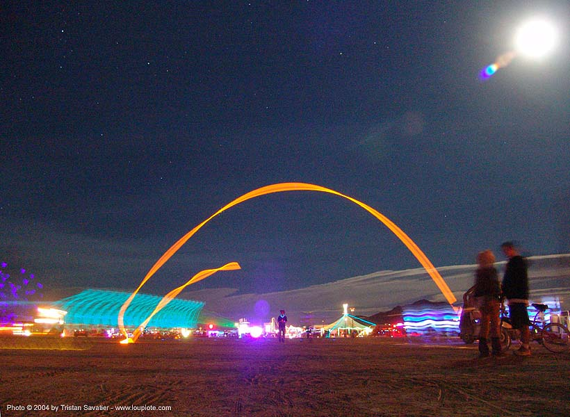 flying glowstick - burning-man 2004, art, burning man, glowstick, long exposure, night