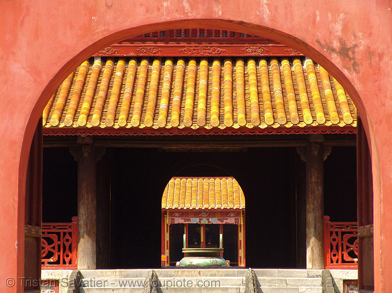 forbidden city (hue) - vietnam, architecture, citadel, forbidden city, historical, hué, orange, perspective, red, vaults