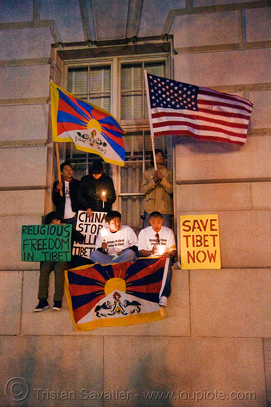 free tibet / anti-china protests (san francisco), anti-china, candle lights for human rights, cia, flags, free tibet, propaganda, protests, rally, signs, tibetan independence, usa