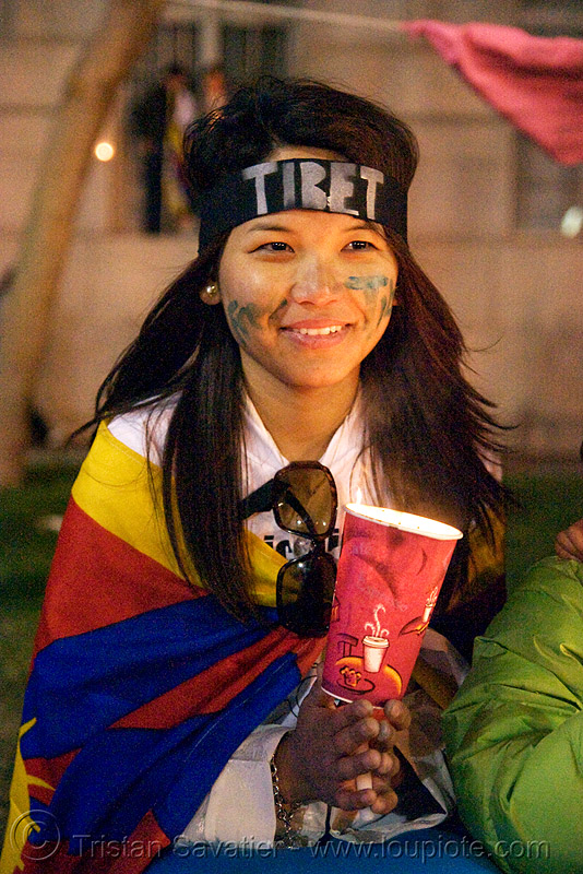 free tibet / anti-china protests (san francisco), anti-china, candle lights for human rights, candlelight vigil, child, cia, free tibet, kid, little girl, night, propaganda, protests, rally, tibetan independence, usa