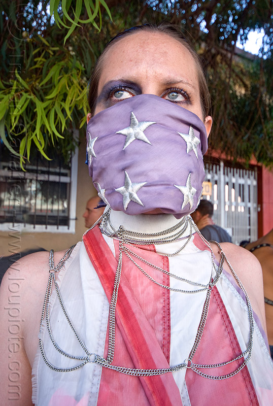 freedom of speech, american flag, chains, first amendment, folsom street fair, freedom of speech, gagged, stars, stripes, us flag, woman