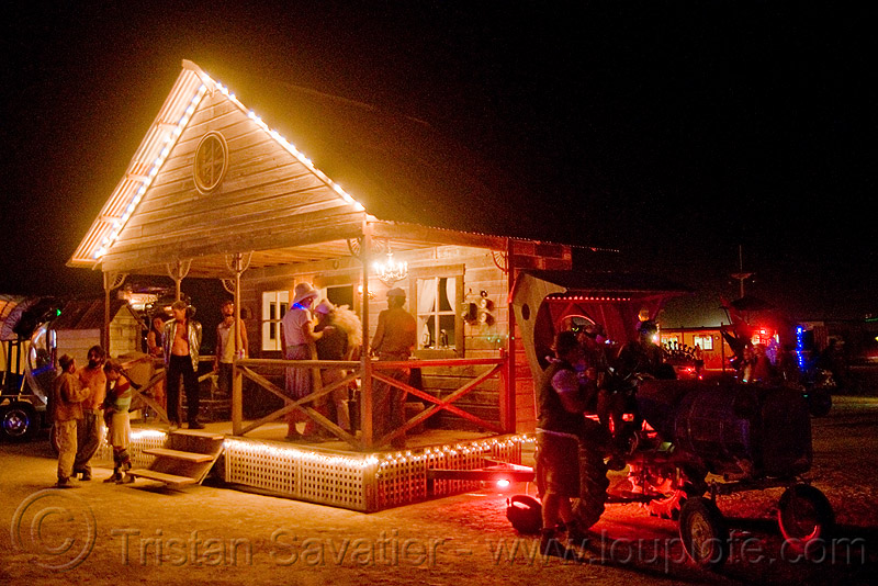the front porch - mobile home - burning man 2009, art car, burning man, cabin, farm tractor, house, mobile home, night, the front porch