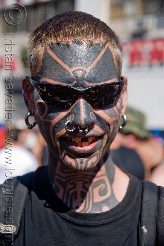 full face tattoo, earrings, full face tattoo, man, nose piercing, nose ring, nostril piercing, septum piercing, sunglasses, tattooed, tattoos, tribal tattoo