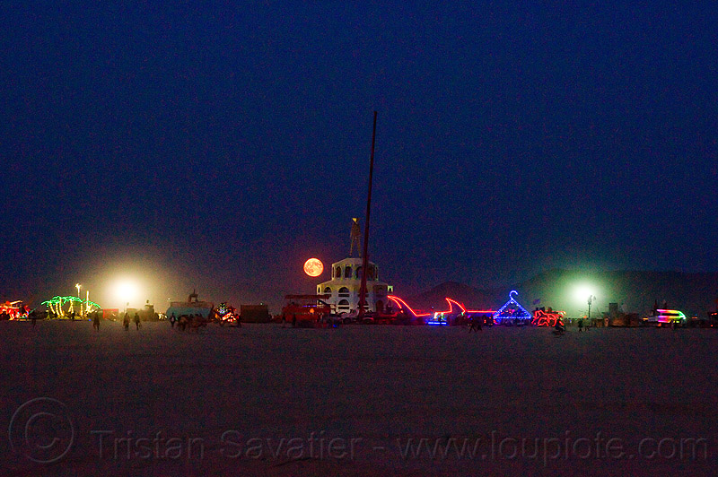 full moon rising - burning man 2012, night, the man