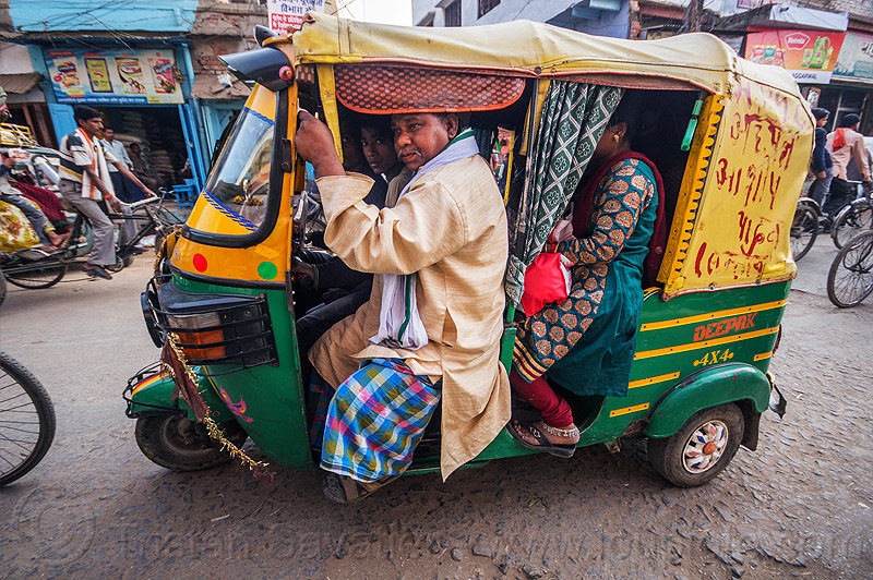fully loaded auto rickshaw (india), auto rickshaw, man, packed, passengers, public transportation, street, varanasi, woman