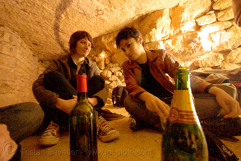 gaëlle and alyssa - catacombes de paris - catacombs of paris (off-limit area), alyssa, androgynous, bottles, candles, catacombs of paris, cataphile, cave, champagne, clandestines, couple, gaëlle, girls, illegal, new year's eve 2008, underground quarry, wine, women