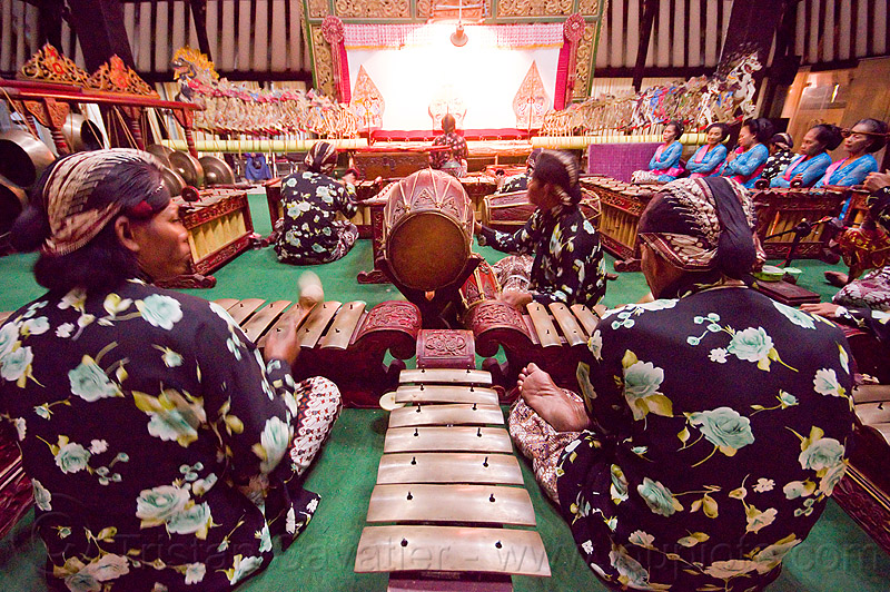 gamelan ensemble, gamelan ensemble, gongs, java, jogja, jogjakarta, karawitan, kendang drum, men, metallophones, music, musical, orchestra, percussion, players, shadow play, shadow puppet theatre, shadow puppetry, shadow puppets, shadow theatre, sitting, wayang kulit, xylophones, yogyakarta