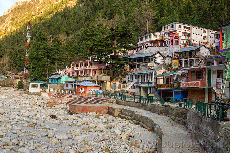 gangotri ghats - bhagirathi river (india), bhagirathi river, bhagirathi valley, gangotri, ghats, hinduism, mountains, river bed