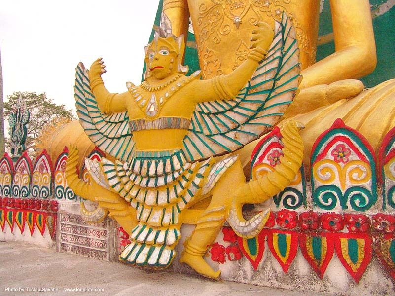 ครุฑ - garuda - wat somdet - man-bird god statue - wat - สังขละบุรี - sangklaburi - thailand, garuda, golden color, man bird god, sangklaburi, statue, temple, wat somdet, wings, ครุฑ, ประเทศไทย, สังขละบุรี