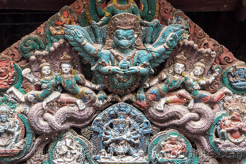 garuda - wood carving - bagh bhairav temple (nepal), bagh bhairav temple, colored, garuda, hindu temple, hinduism, kirtipur, sculpture, wood carving