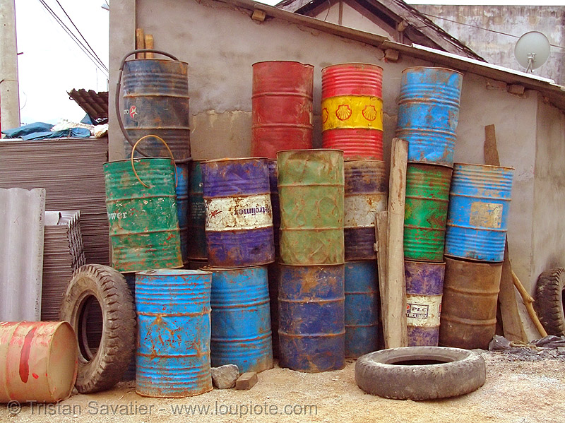 gasoline barrels in gas station - vietnam, fuel, gas station, gasoline barrels, oil barrels, petrol station, quản bạ, tam son, tám sơn