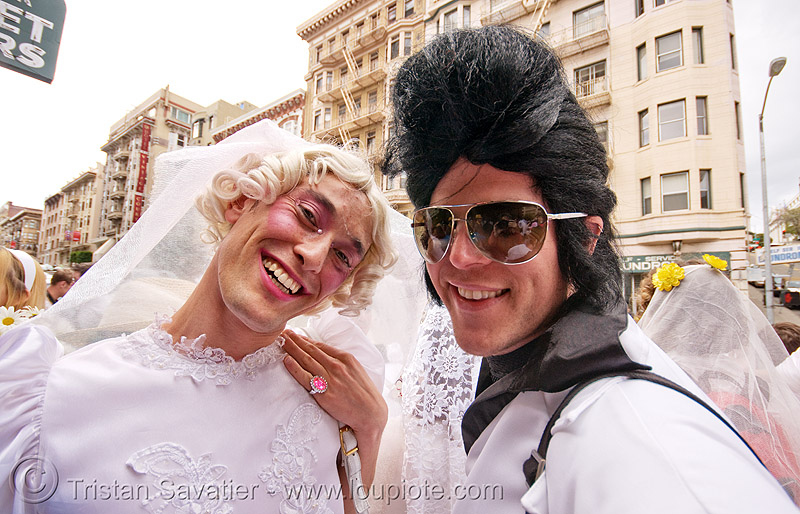 gay wedding - brides, brides of march, drag, elvis impersonator, festival, gay wedding, man, same-sex wedding, transvestite, white