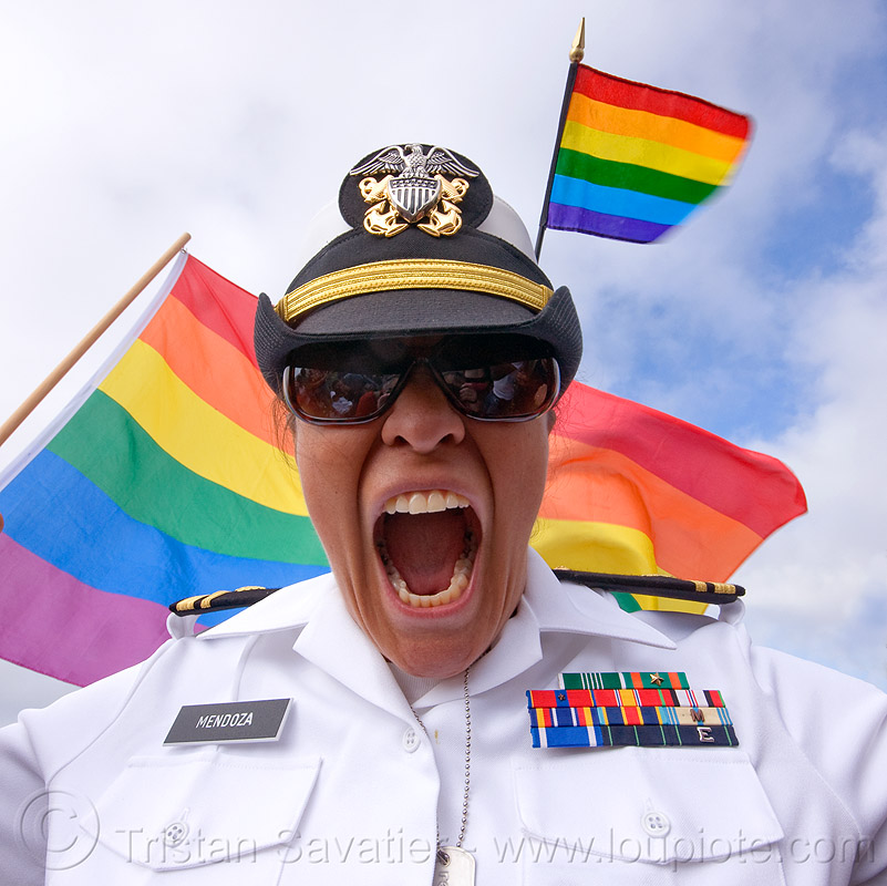 gays in the military, army, cap, dolores park, flags, gay pride, gay pride festival, hat, mendoza, military cap, military hat, military uniform, people, rainbow colors, rainbow flag, rosanna, white uniform, woman